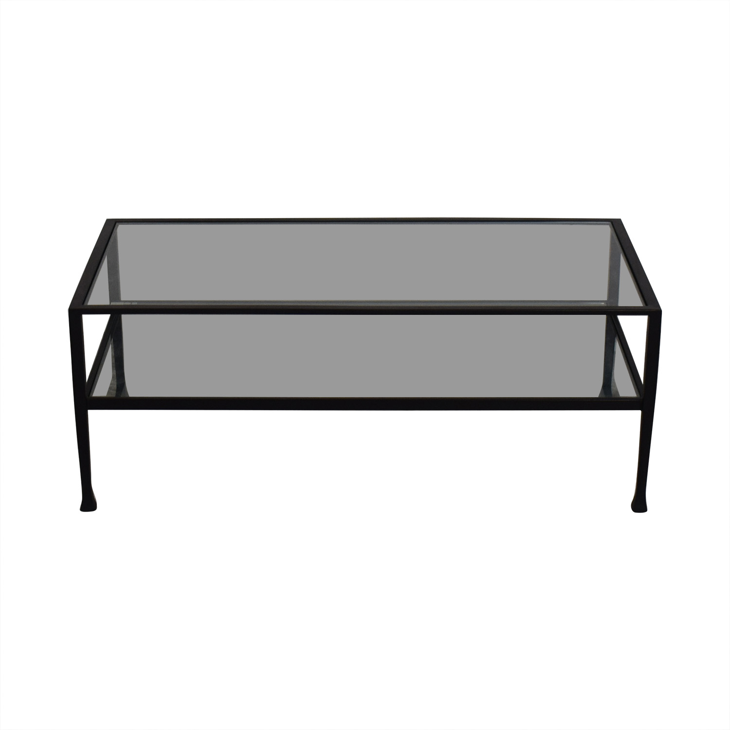 48767e004a 42% OFF - Pottery Barn Pottery Barn Glass and Black Coffee Table ...