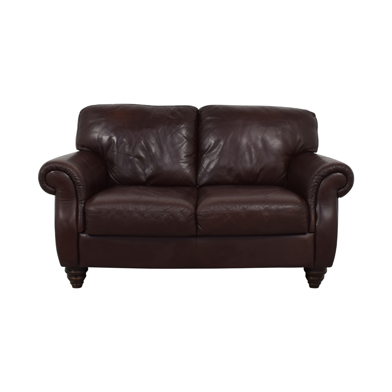 Italia Fortunoff Brown Two-Cushion Love Seat sale