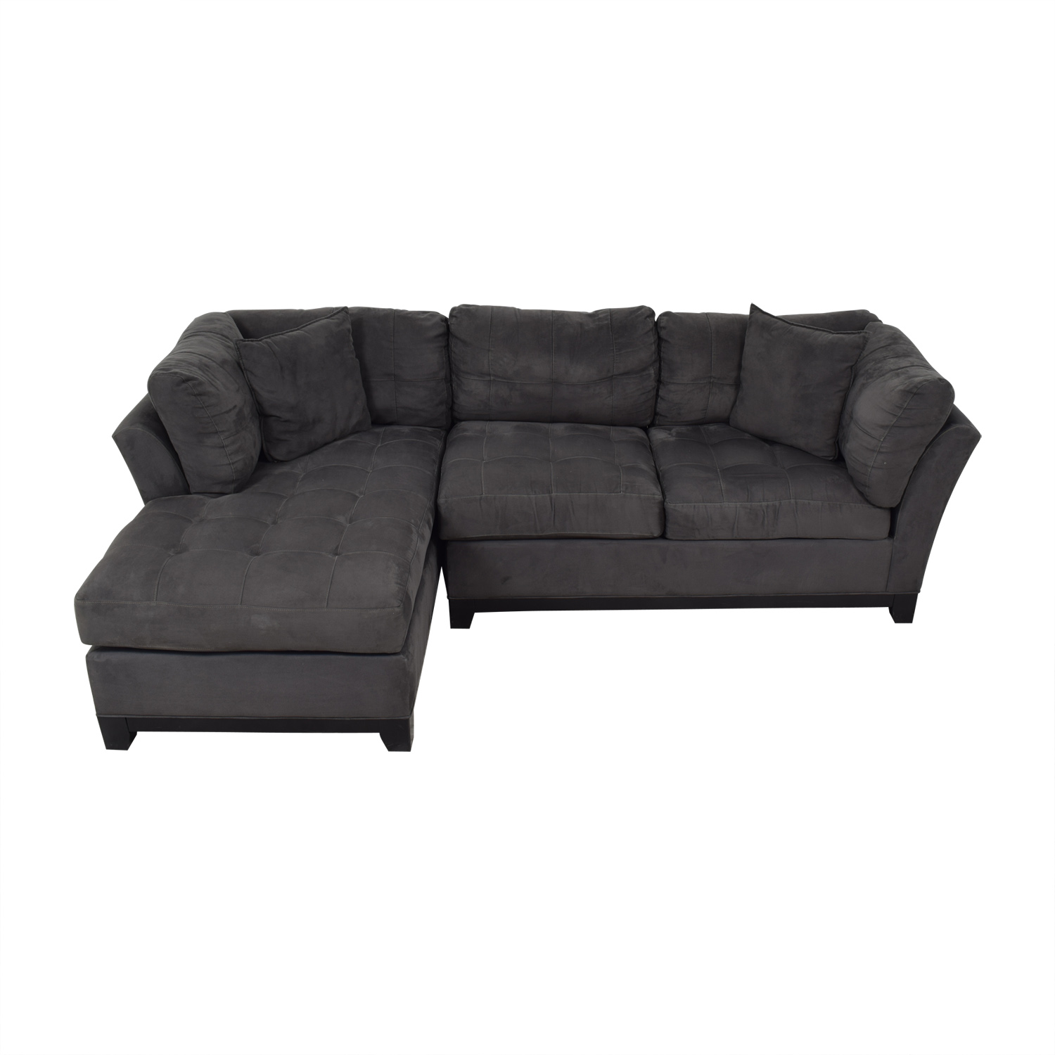 Cindy Crawford Home Metropolis Grey Microfiber Chaise Sectional Cindy Crawford Home