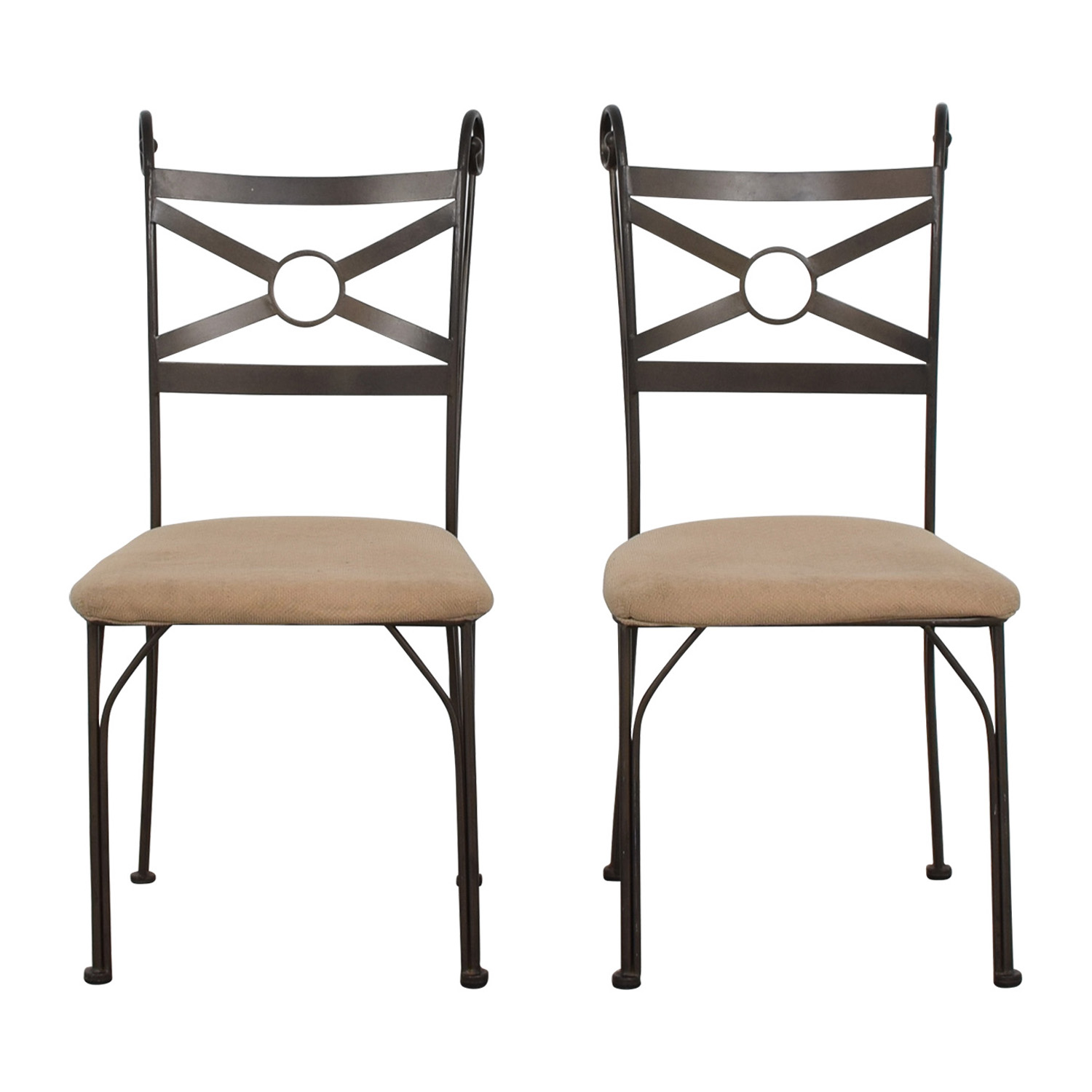 Fabric and Metal Chairs dimensions