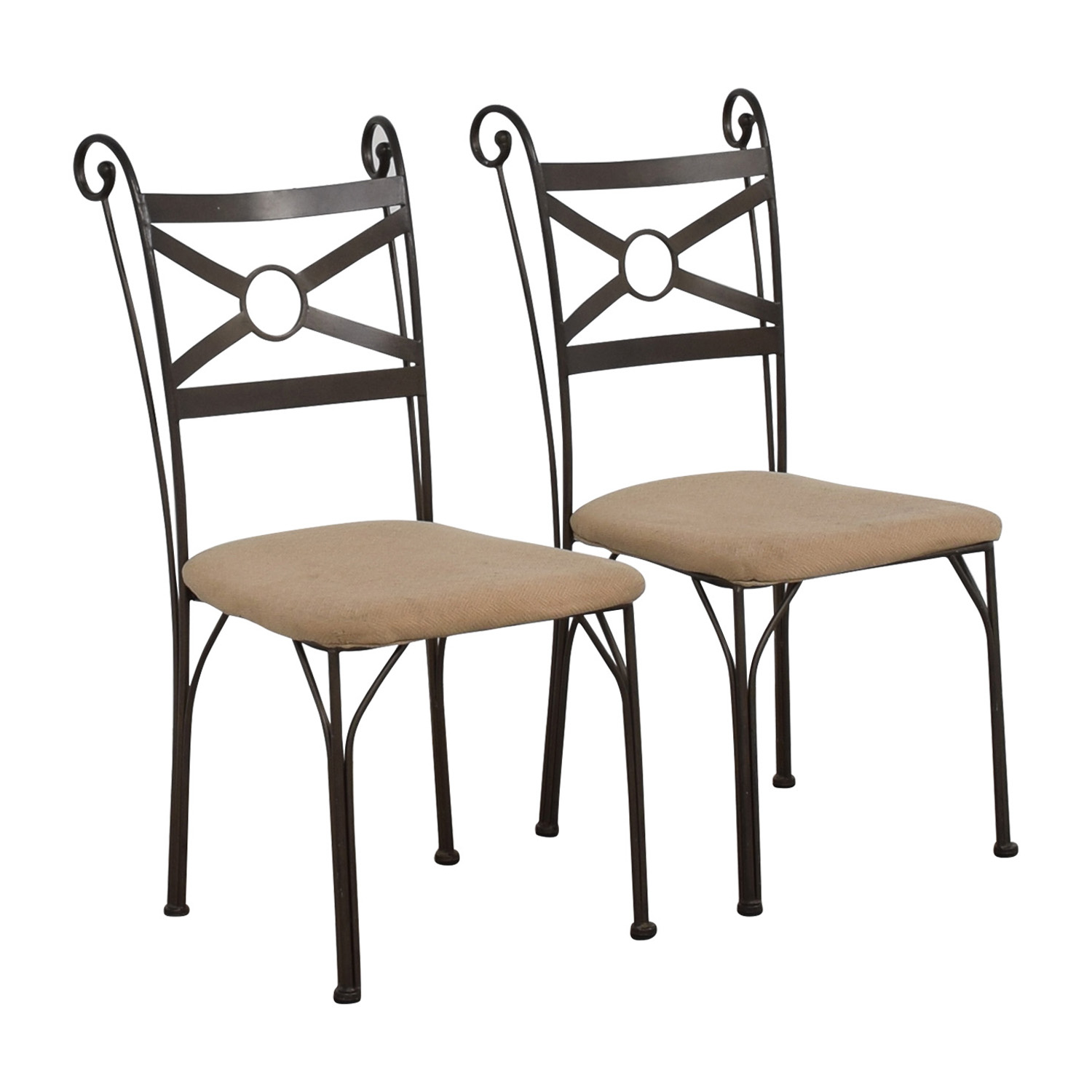 Fabric and Metal Chairs used