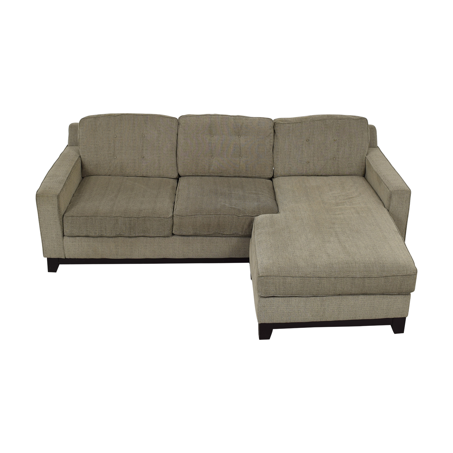Macy's Grey Tufted Chaise Sectional / Sofas
