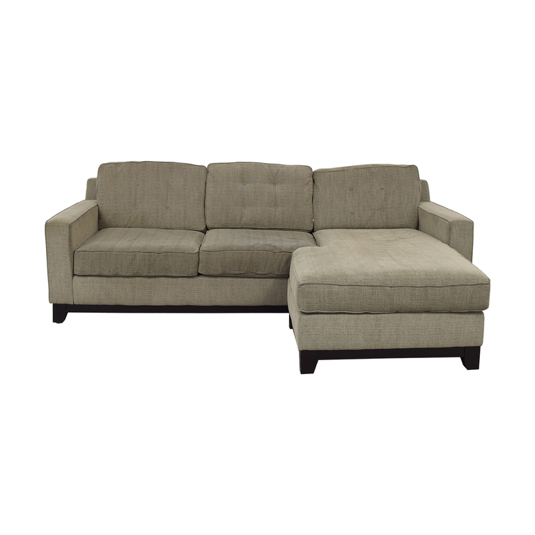 Macy's Macy's Grey Tufted Chaise Sectional for sale