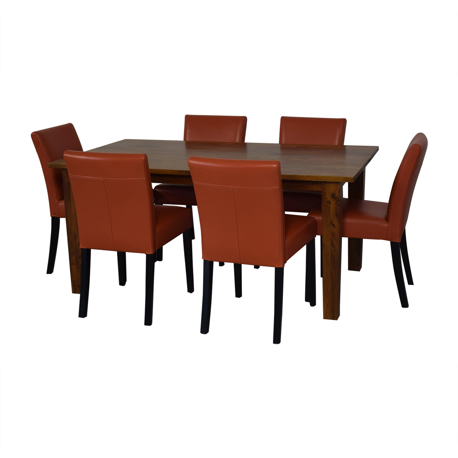 Crate & Barrel Crate & Barrel Basque Honey Dining Set and Lowe Persimmon Chairs used