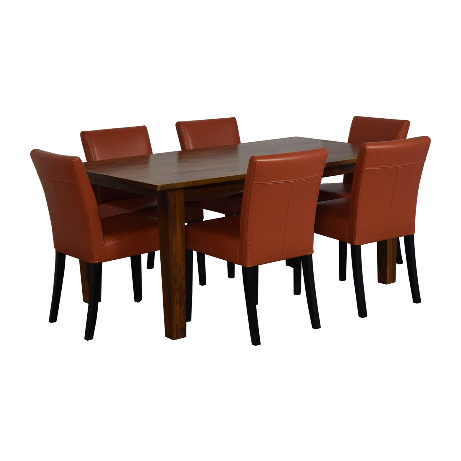 Crate & Barrel Crate & Barrel Basque Honey Dining Set and Lowe Persimmon Chairs price