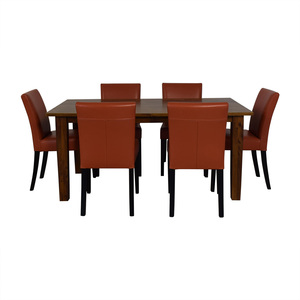 Crate & Barrel Crate & Barrel Basque Honey Dining Set and Lowe Persimmon Chairs for sale