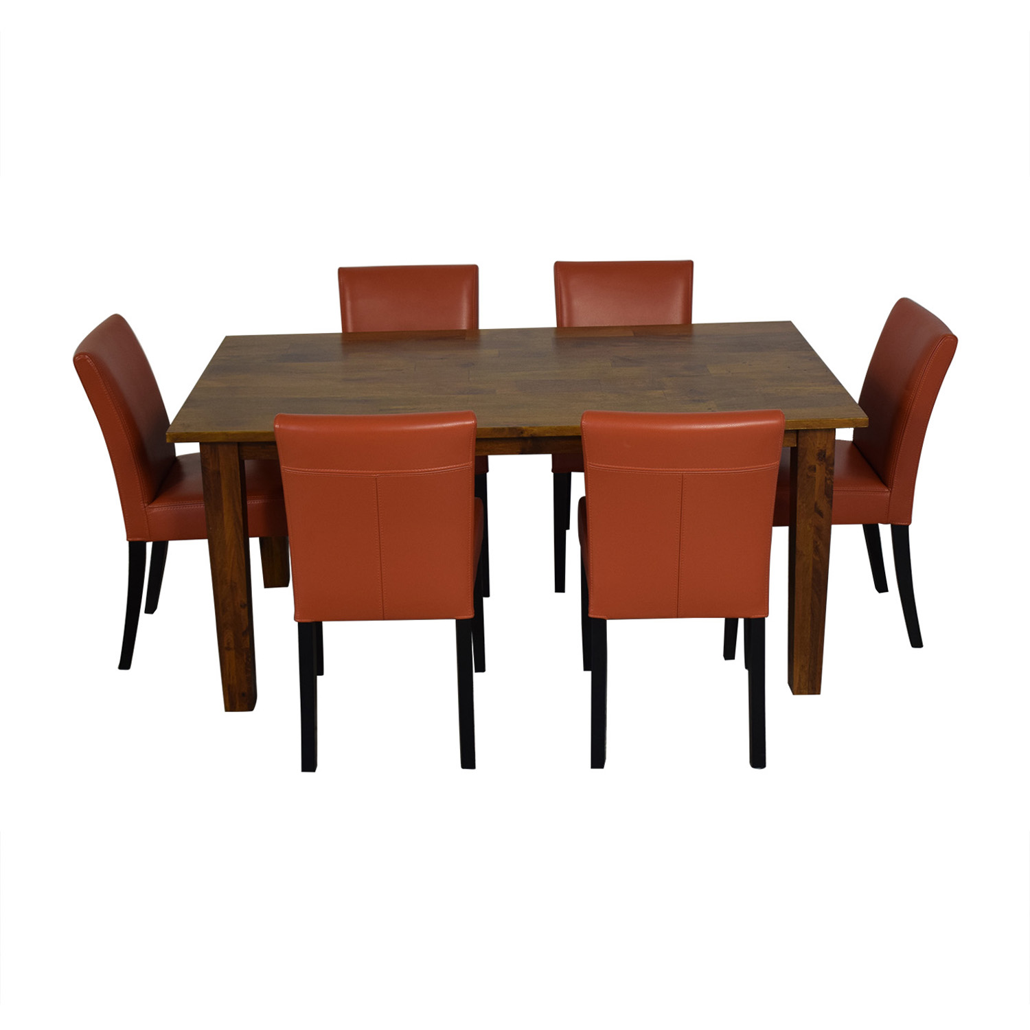 buy Crate & Barrel Crate & Barrel Basque Honey Dining Set and Lowe Persimmon Chairs online