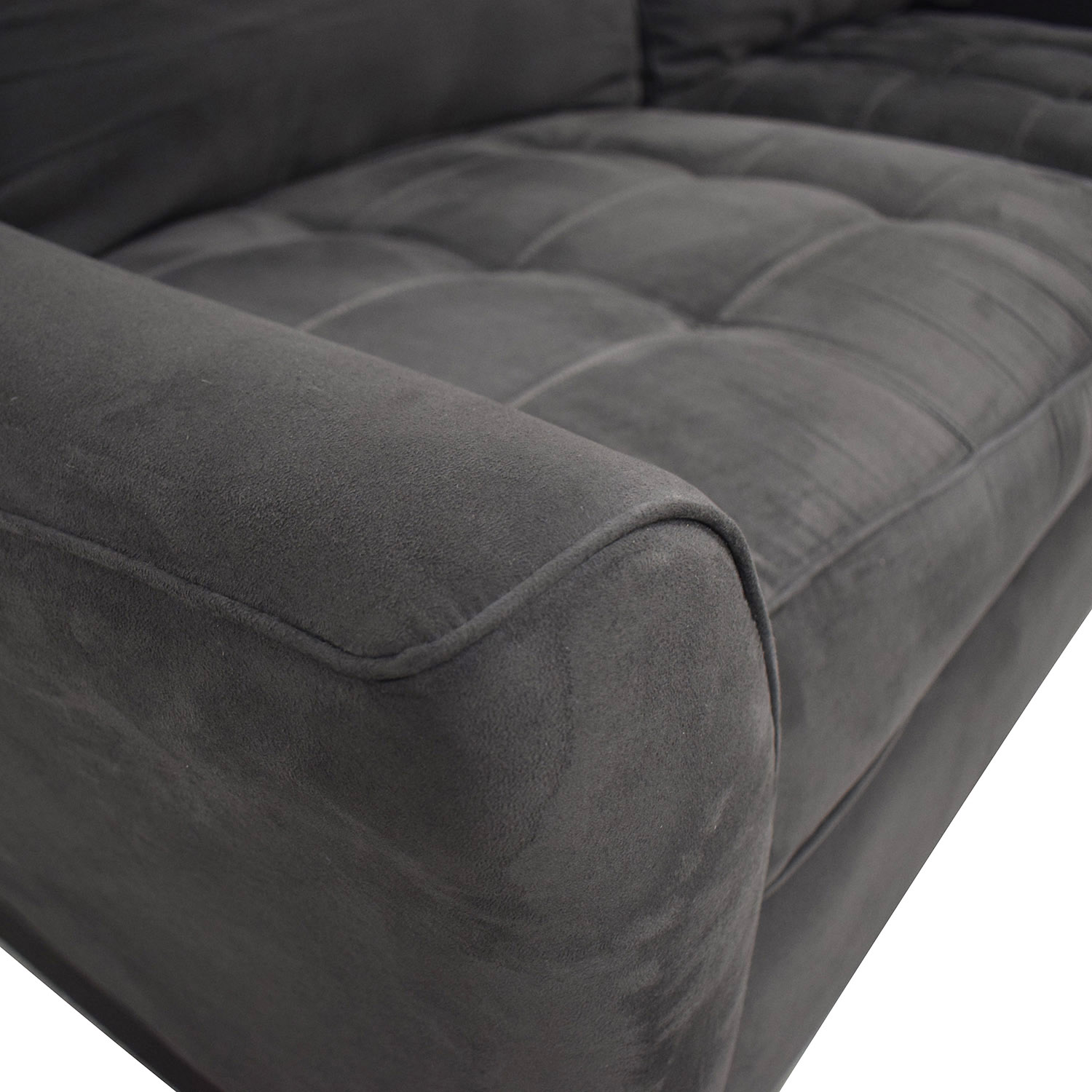 shop Raymour & Flanigan Raymour & Flanigan Grey Semi Tufted Two Cushion Couch online