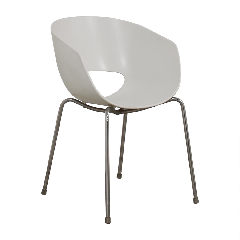 CB2 Cb2 Orbit White Arm Chair Chairs