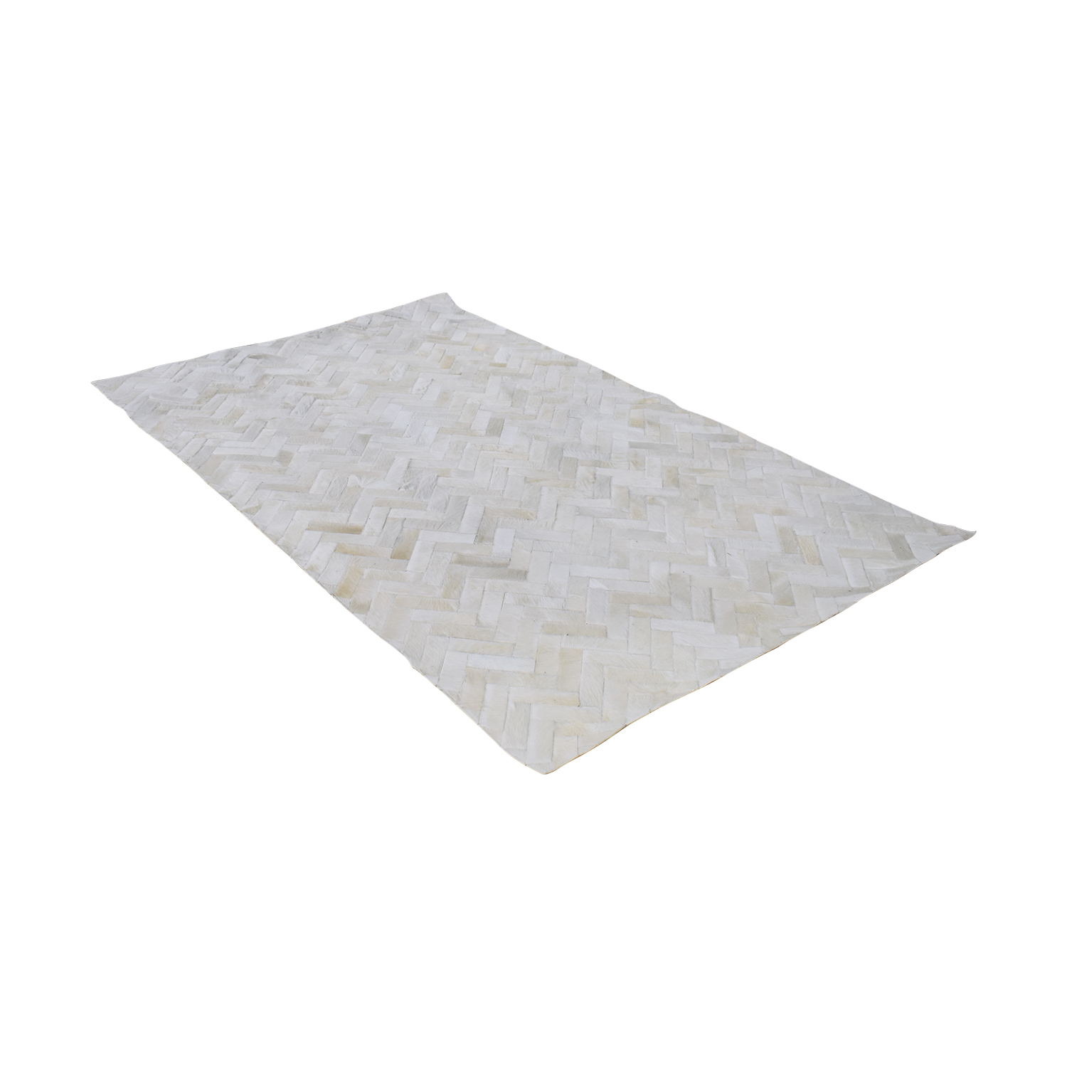 West Elm West Elm Pieced + Patched Cowhide Rug white