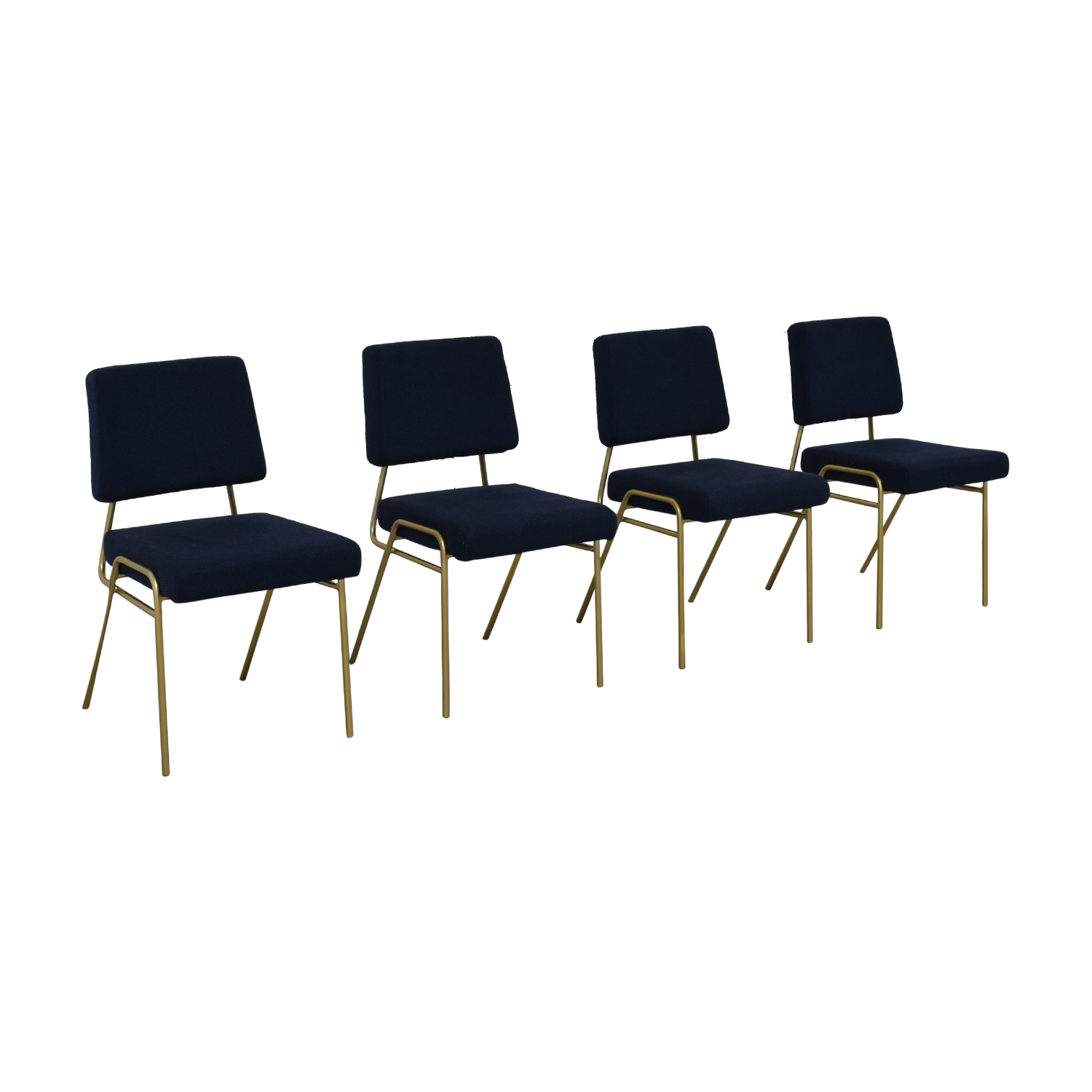 West Elm West Elm Navy Blue Upholstered Dining Chairs second hand
