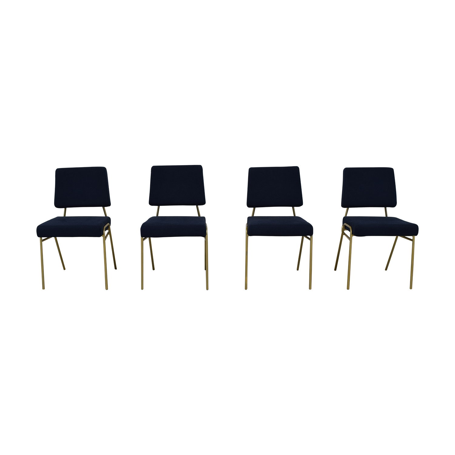 West Elm Navy Blue Upholstered Dining Chairs sale