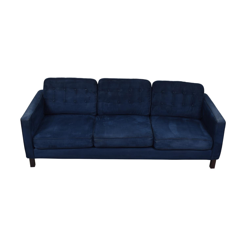 Blue Tufted Three-Cushion Sofa nj