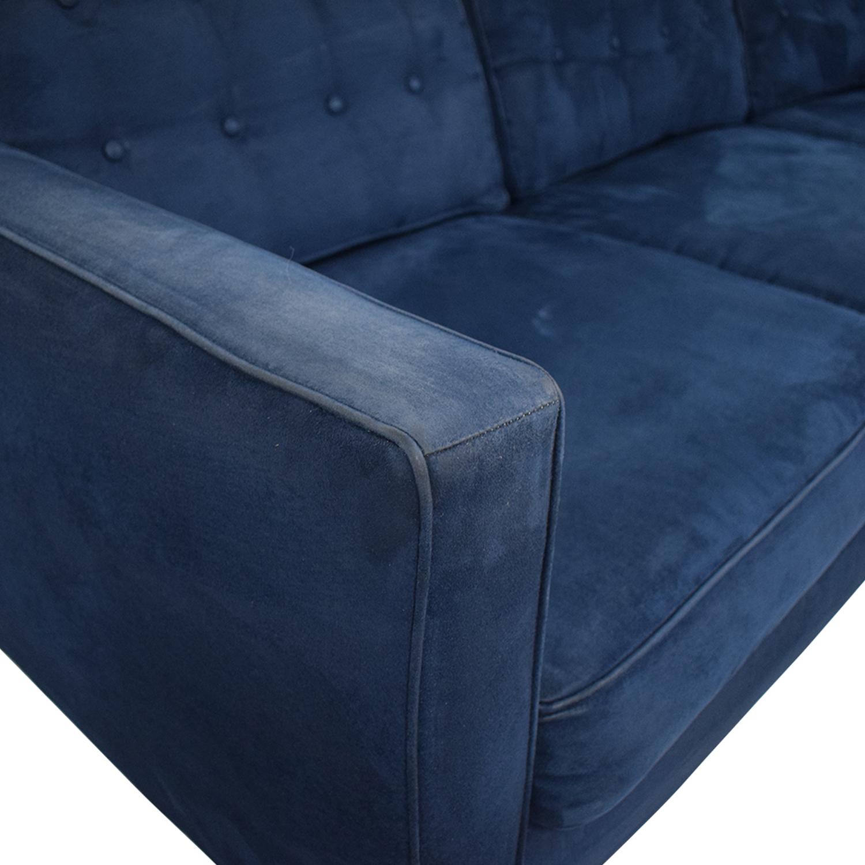Blue Tufted Three-Cushion Sofa dimensions