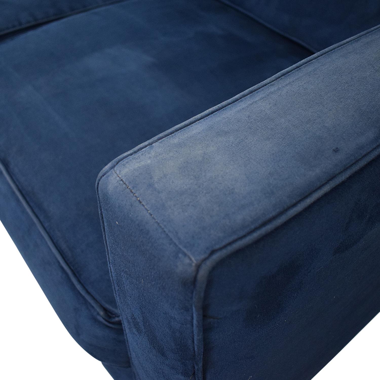 Blue Tufted Three-Cushion Sofa