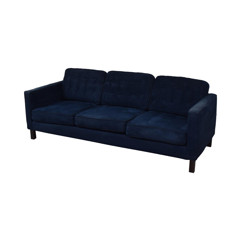 Blue Tufted Three-Cushion Sofa second hand
