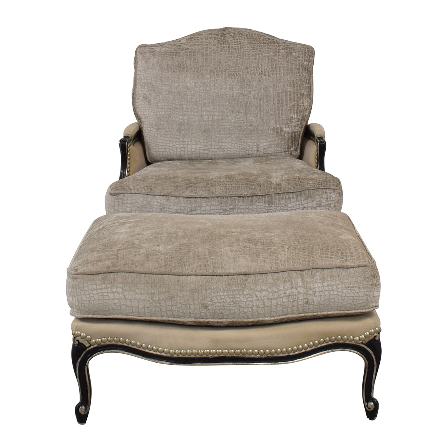 Century Furniture Century Furniture Custom Bergere Beige Nailhead Dovetailed Accent Chair nj