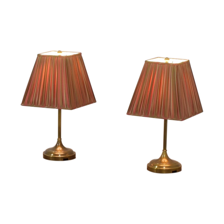Pottery Barn Striped Shade Brass Lamps / Decor