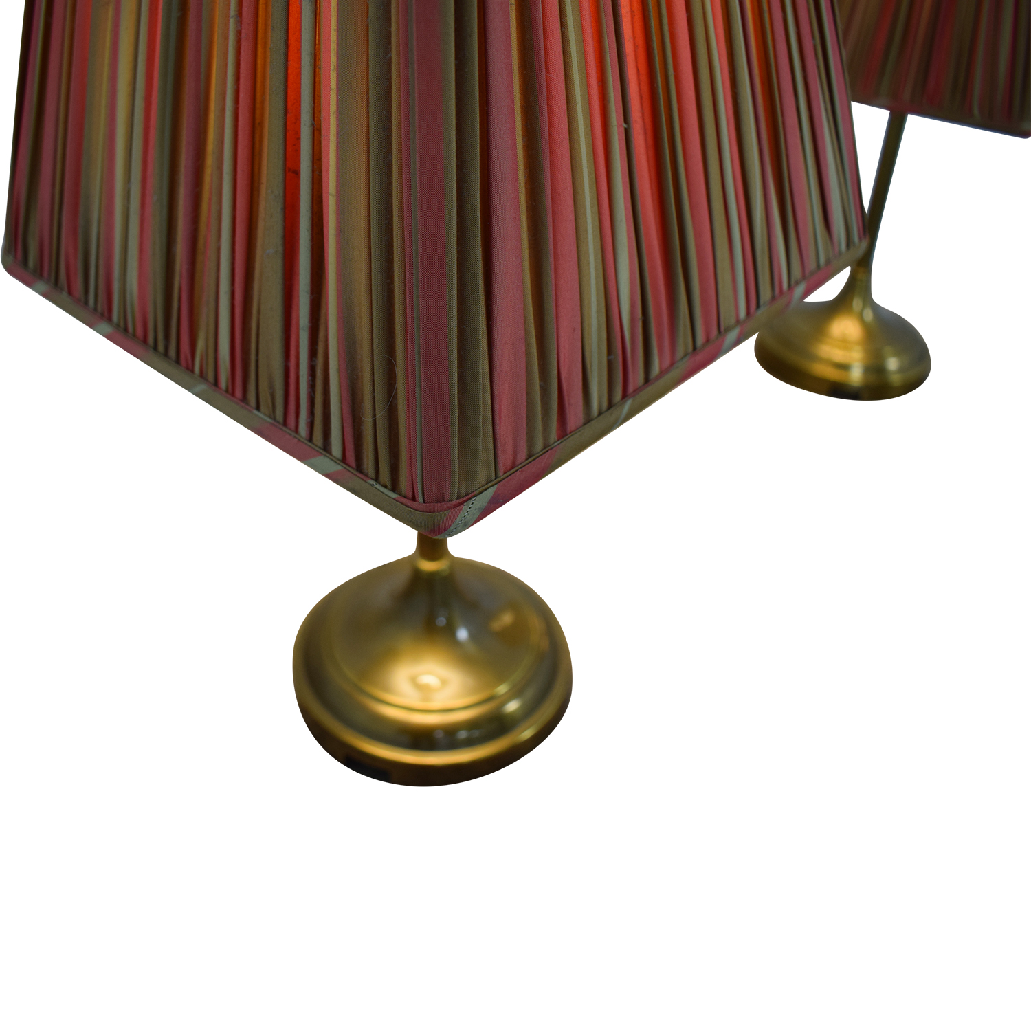Pottery Barn Striped Shade Brass Lamps / Lamps