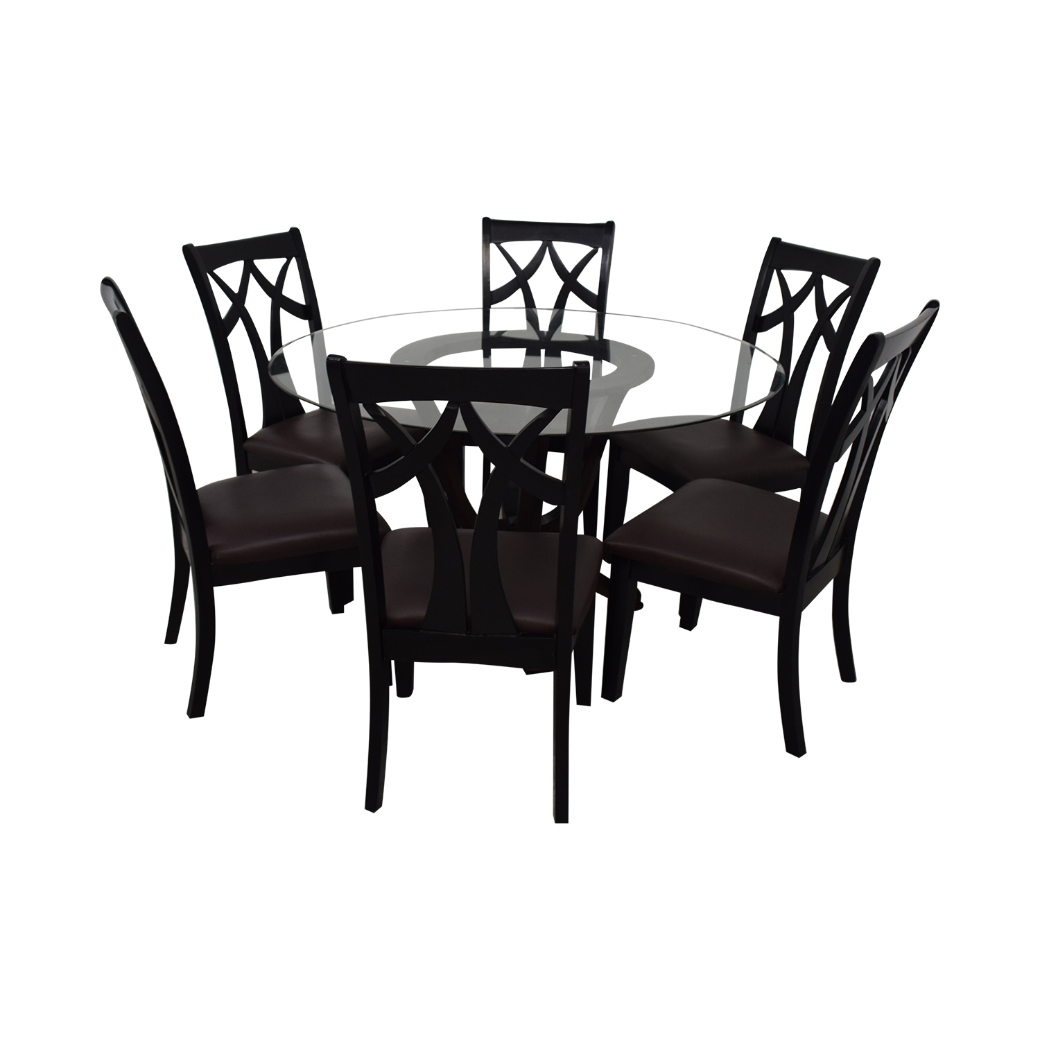 Raymour & Flanigan Contemporary Style Round Table With Six chairs sale