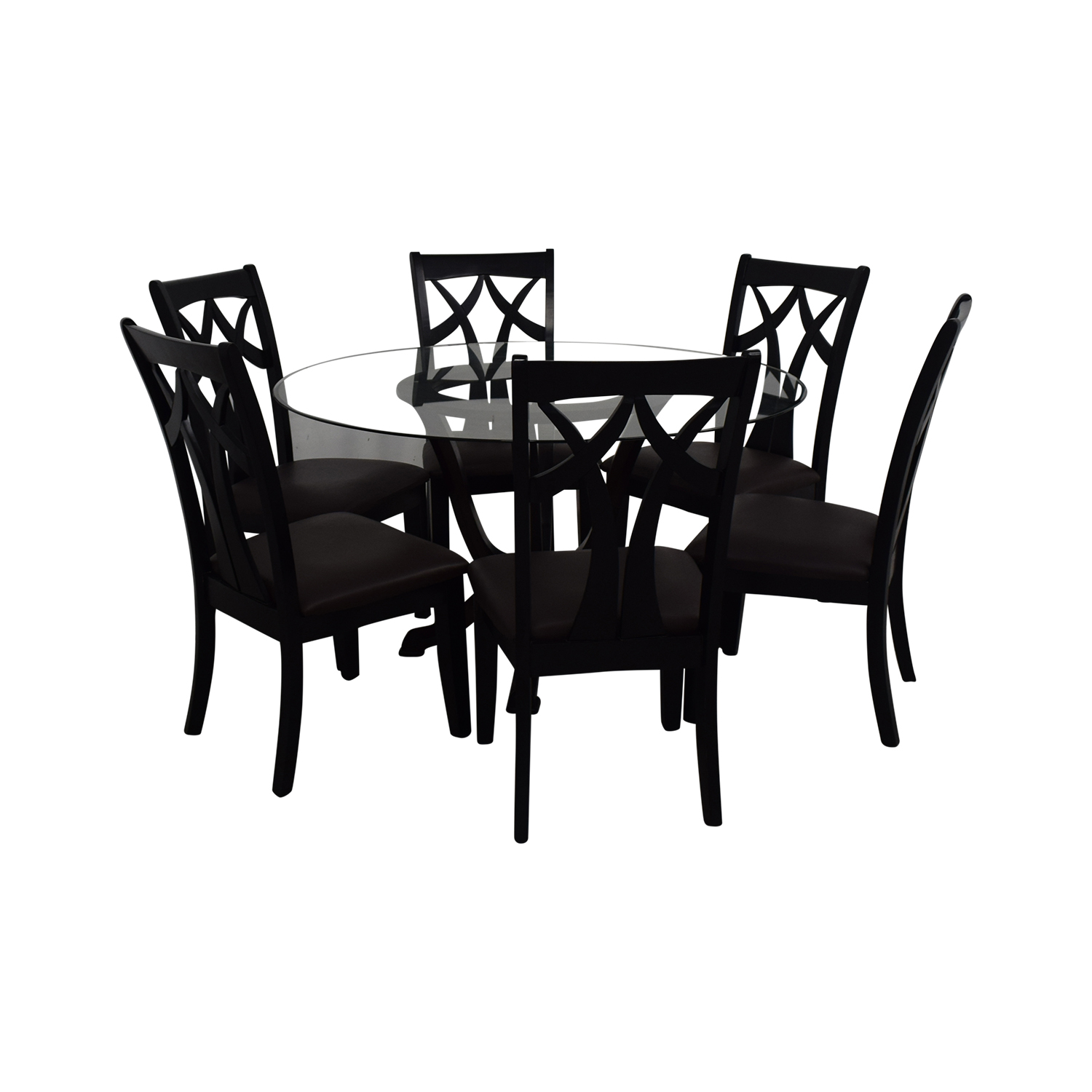 Raymour & Flanigan Contemporary Style Round Table With Six chairs / Dining Sets