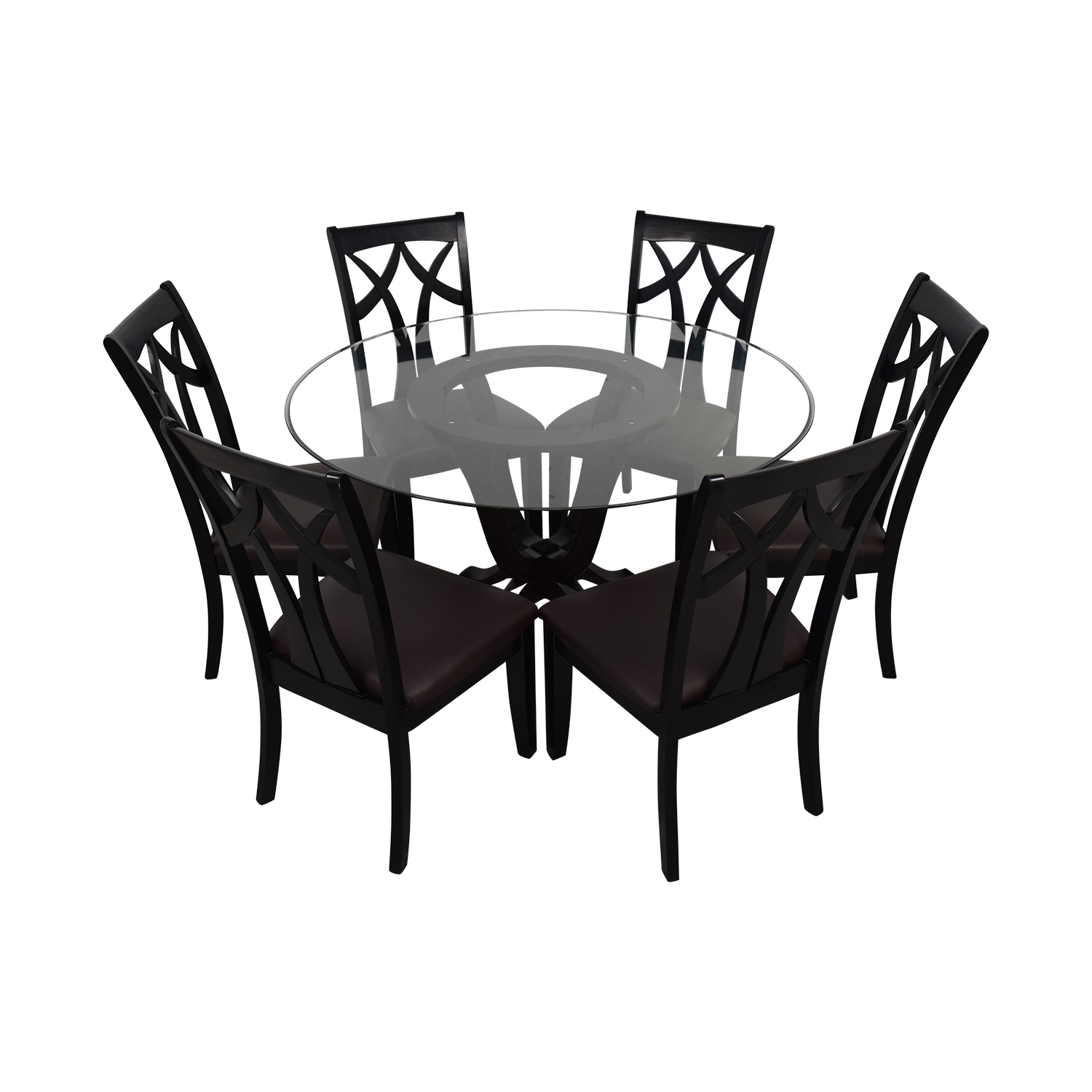 shop Raymour & Flanigan Contemporary Style Round Table With Six chairs Raymour & Flanigan