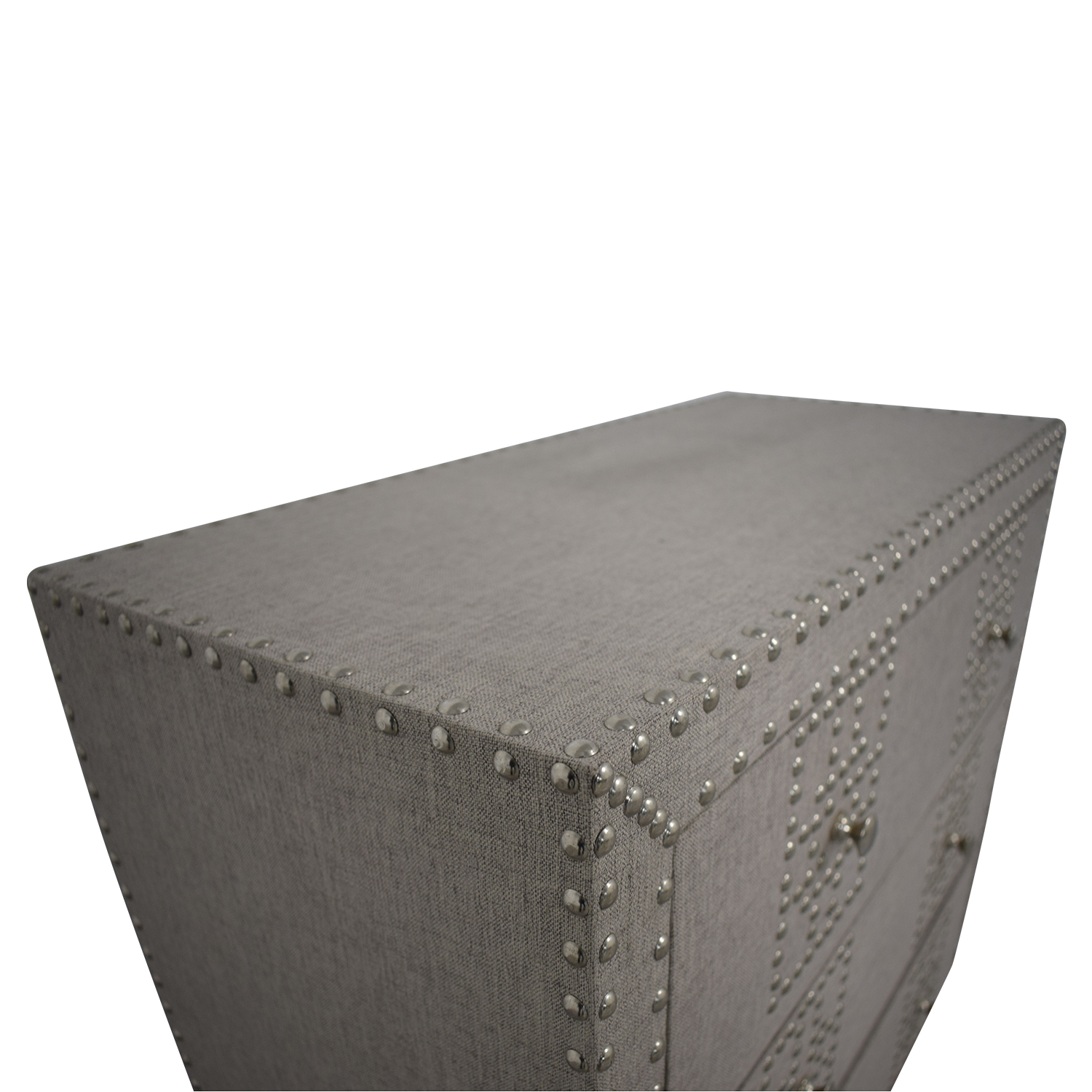 Wayfair Wayfair Gordy Grey Upholstered Nailhead Three-Drawer Dresser