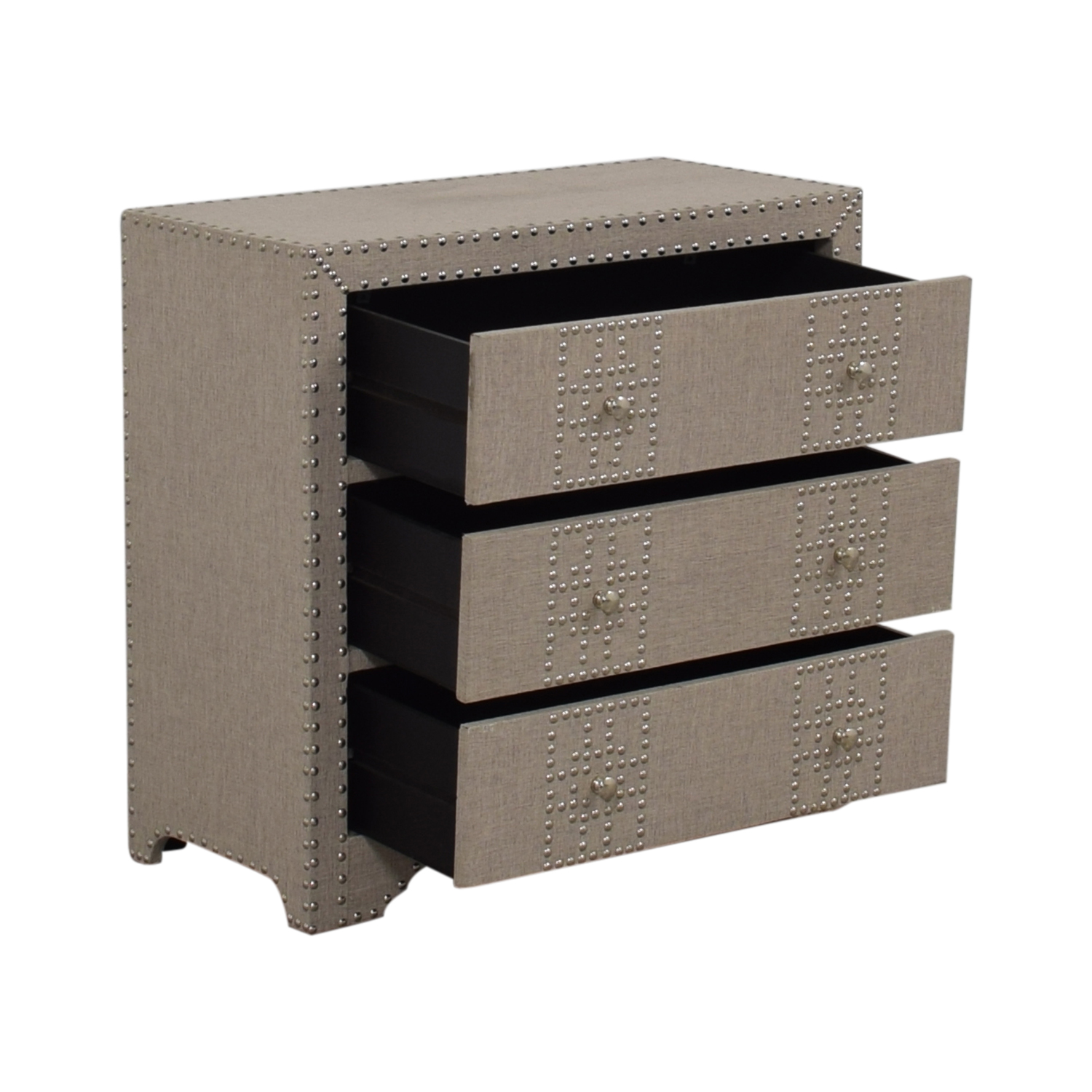 Wayfair Wayfair Gordy Grey Upholstered Nailhead Three-Drawer Dresser Storage
