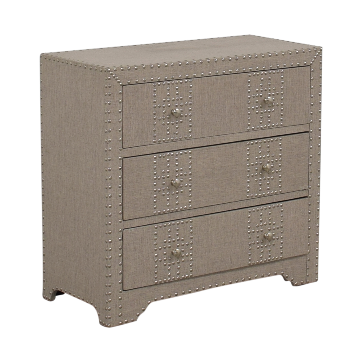 buy Wayfair Gordy Grey Upholstered Nailhead Three-Drawer Dresser Wayfair