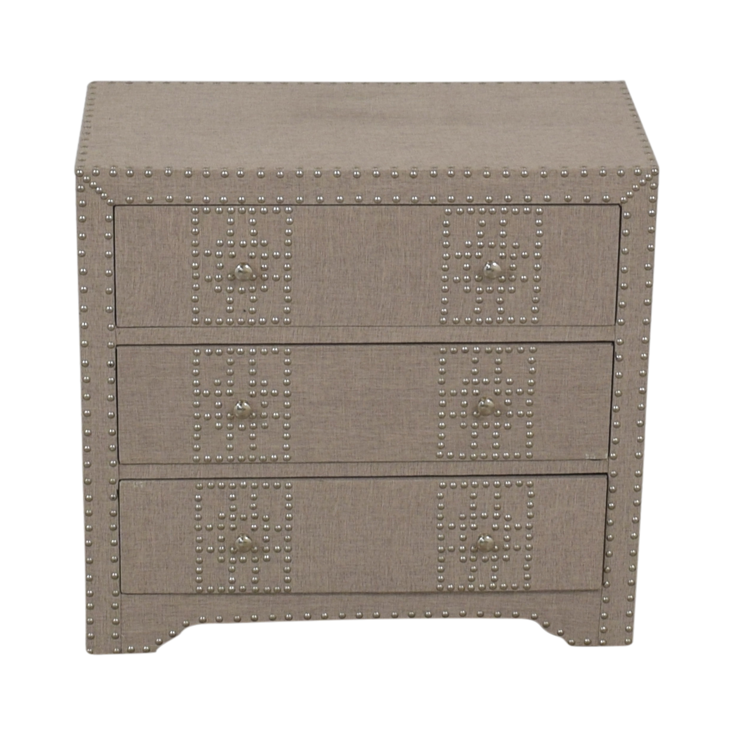 shop Wayfair Gordy Grey Upholstered Nailhead Three-Drawer Dresser Wayfair