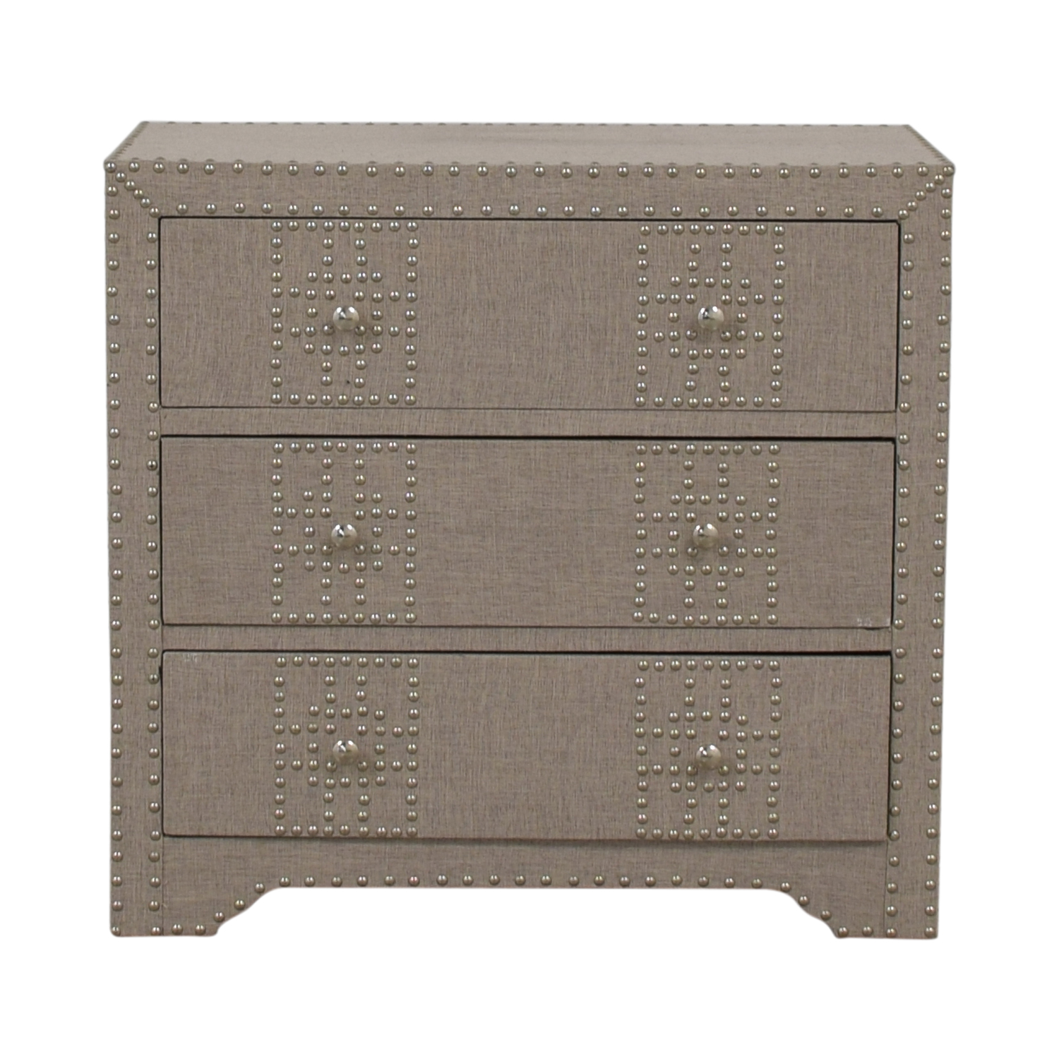 Wayfair Wayfair Gordy Grey Upholstered Nailhead Three-Drawer Dresser used