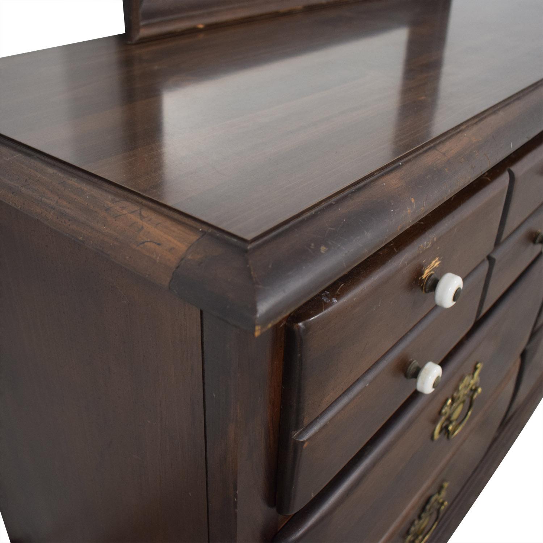 Ethan Allen Ethan Allen Six-Drawer Dresser with Mirror brown