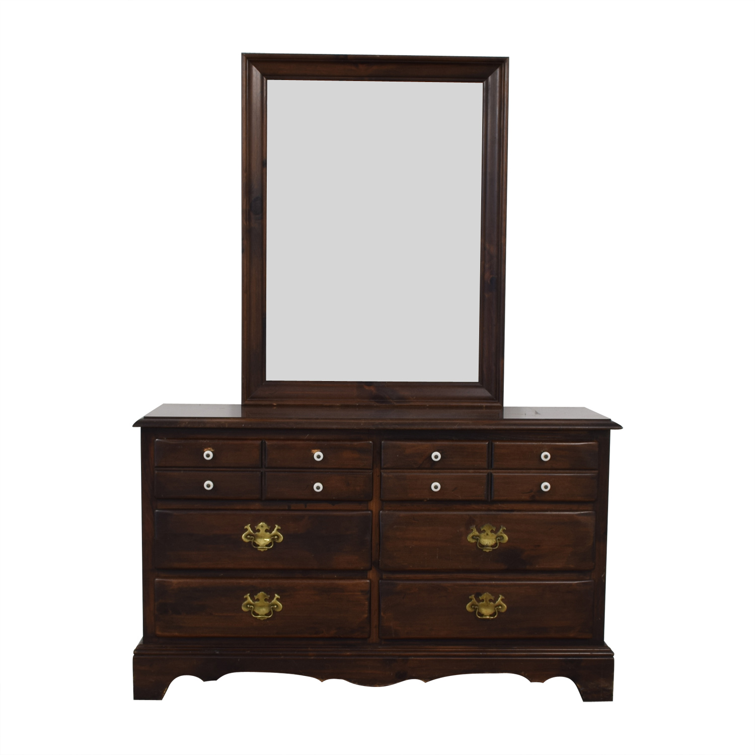 Ethan Allen Six Drawer Dresser With Mirror