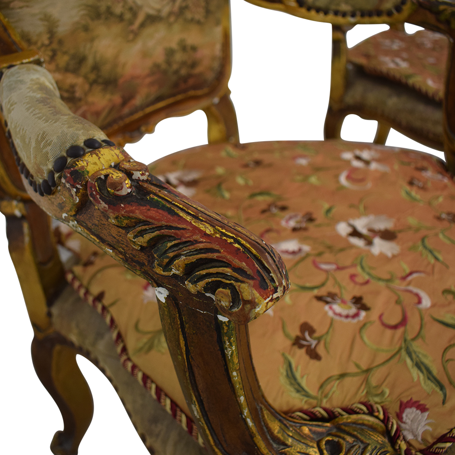 buy Distressed Antique Louis XV Accent Chairs  Accent Chairs