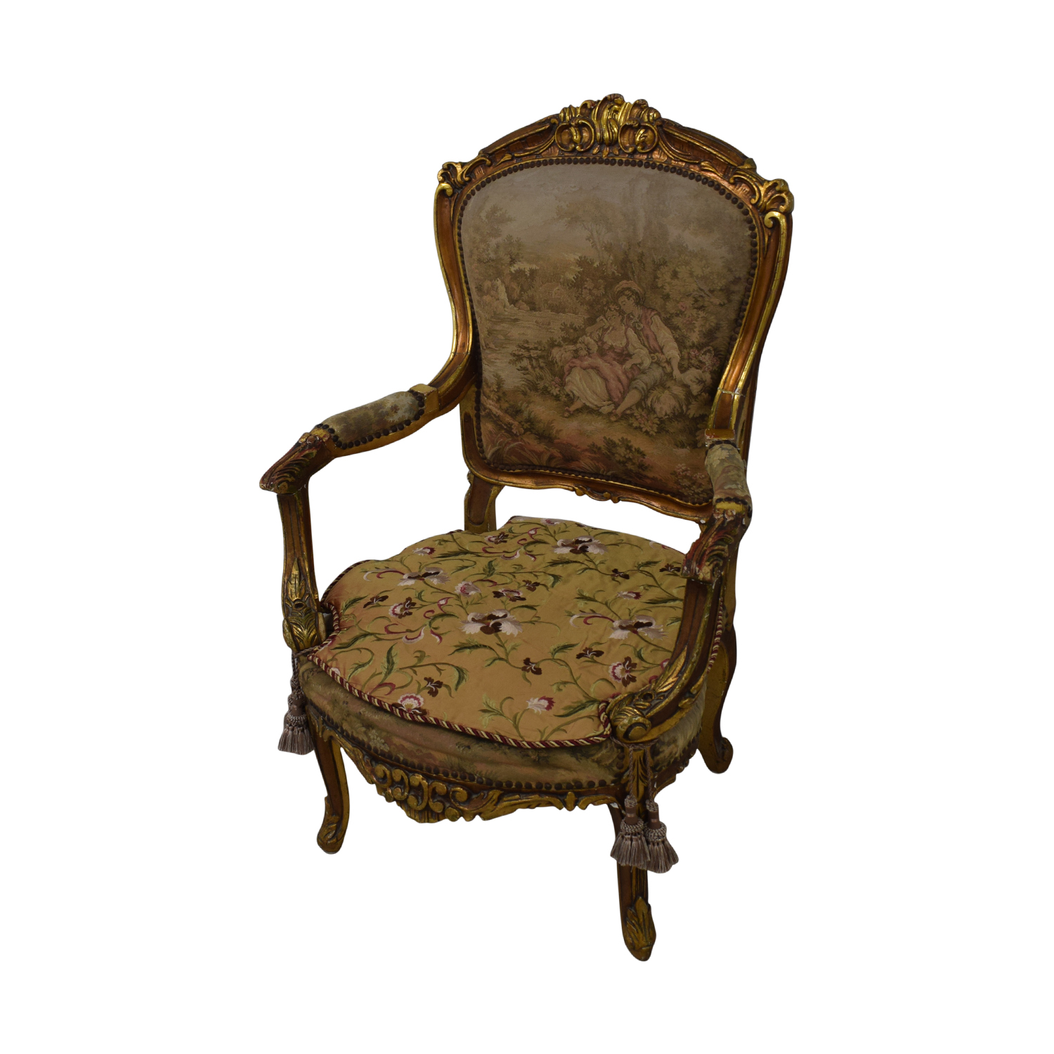 Distressed Antique Louis XV Accent Chairs coupon