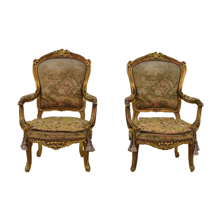 Distressed Antique Louis XV Accent Chairs used