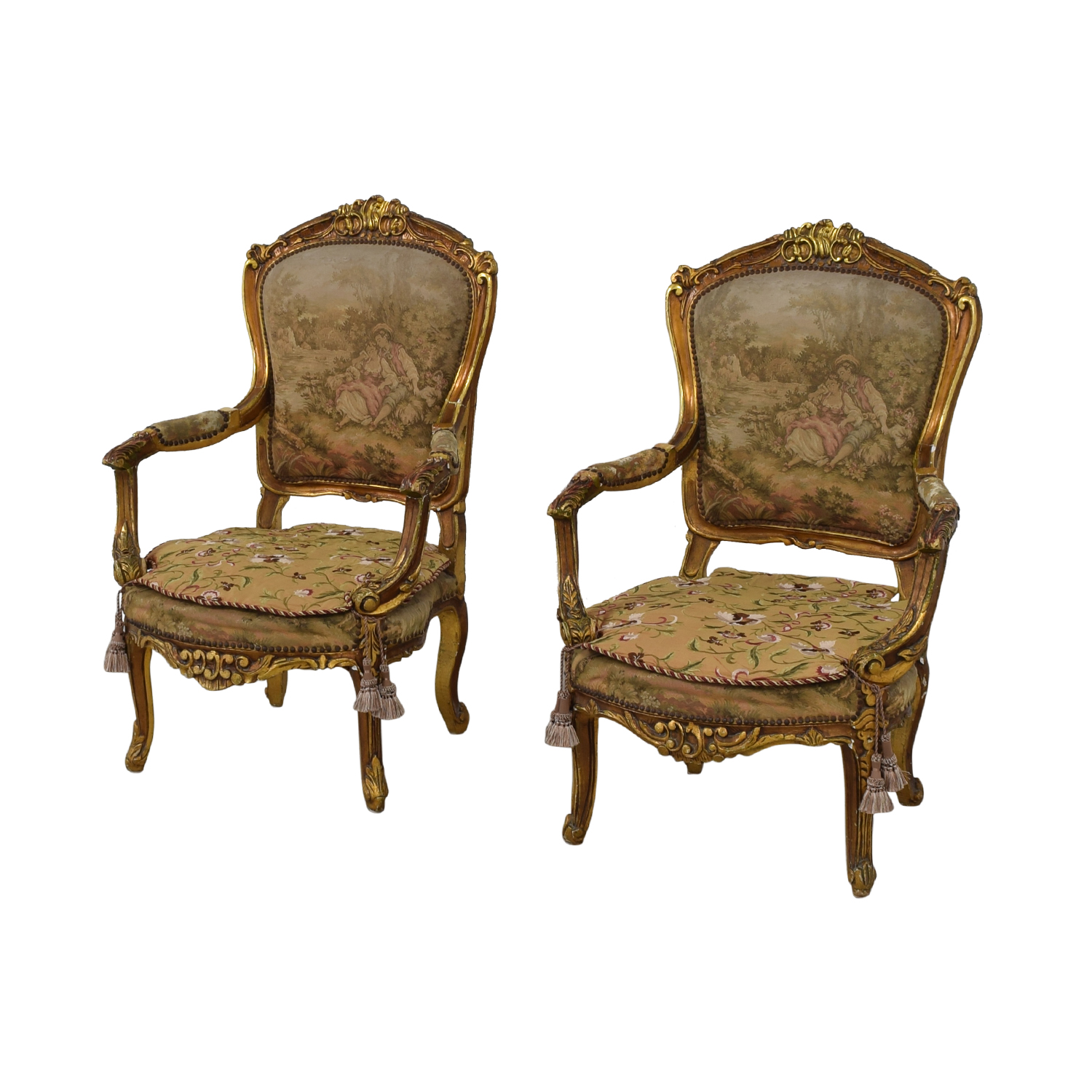 Distressed Antique Louis XV Accent Chairs for sale
