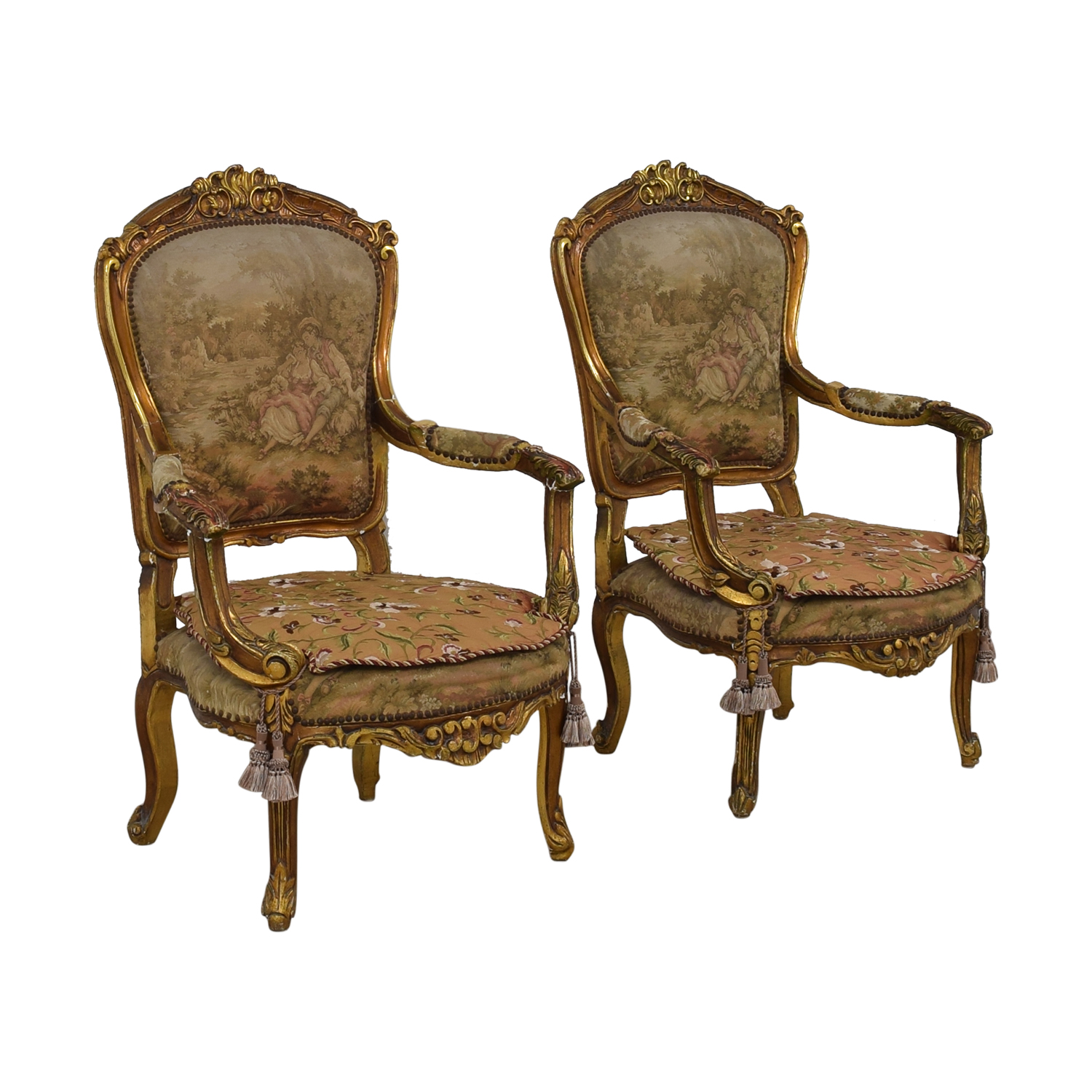 Distressed Antique Louis XV Accent Chairs nj