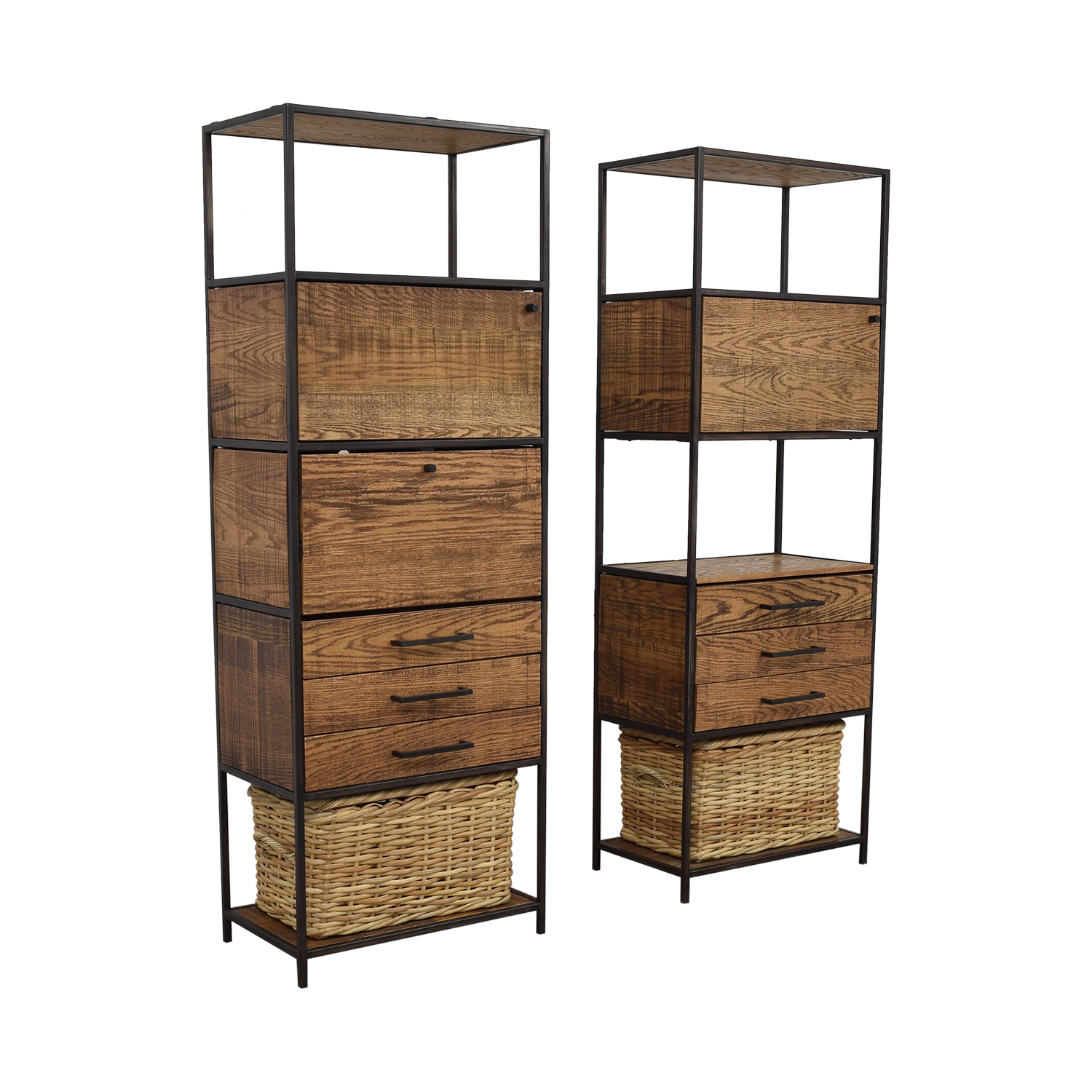 Recycled Brooklyn Custom Bookshelves with Drawers and Wicker Basket / Bookcases & Shelving