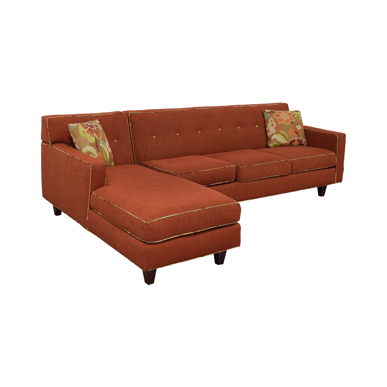 Red Sectional With Chaise and Floral Pillows used
