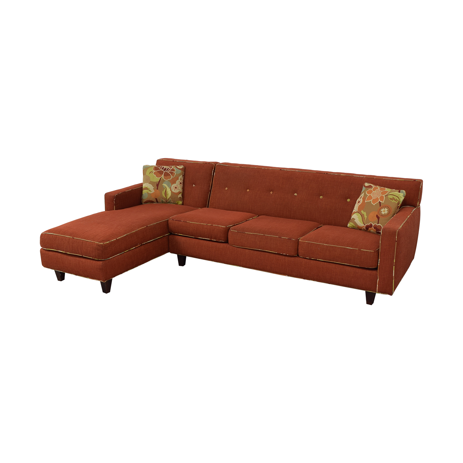 Red Sectional With Chaise and Floral Pillows Sofas