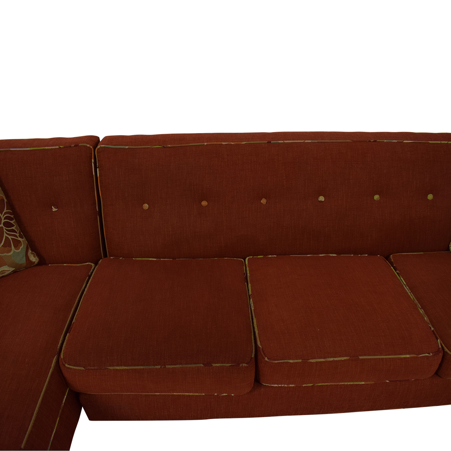 shop Red Sectional With Chaise and Floral Pillows  Sectionals