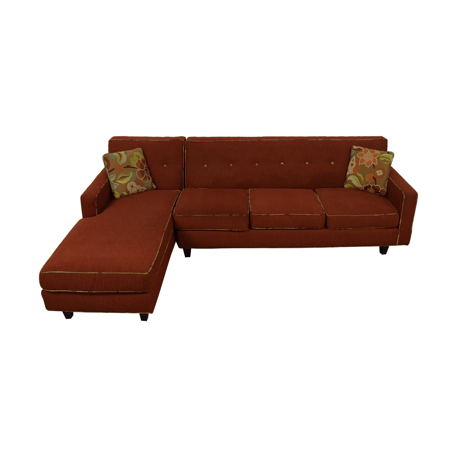 Red Sectional With Chaise and Floral Pillows discount