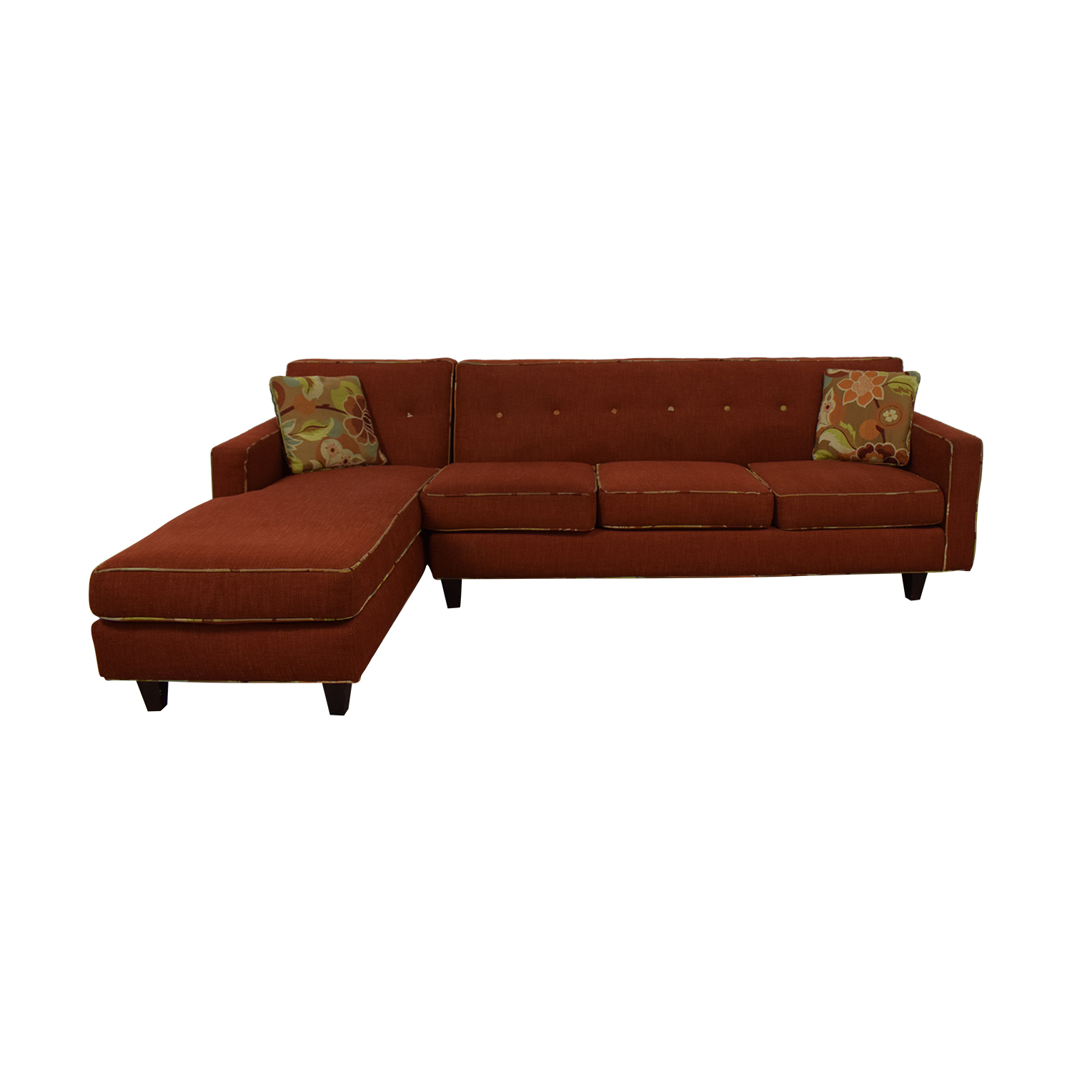Red Sectional With Chaise and Floral Pillows on sale
