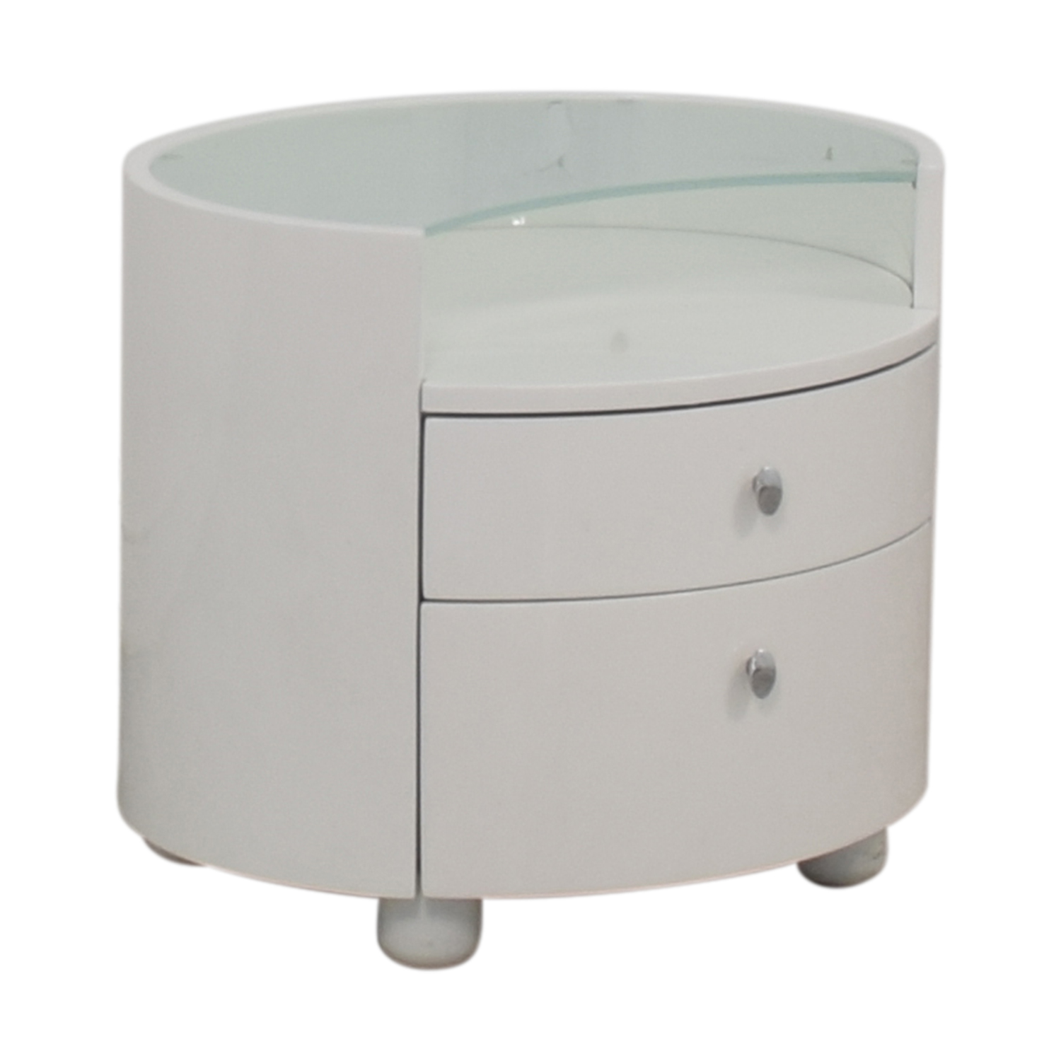 Modern Two Drawer Crescent Glass Nightstand sale