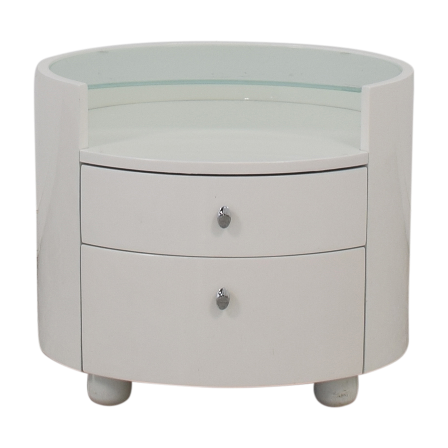 Modern Two Drawer Crescent Glass Nightstand discount
