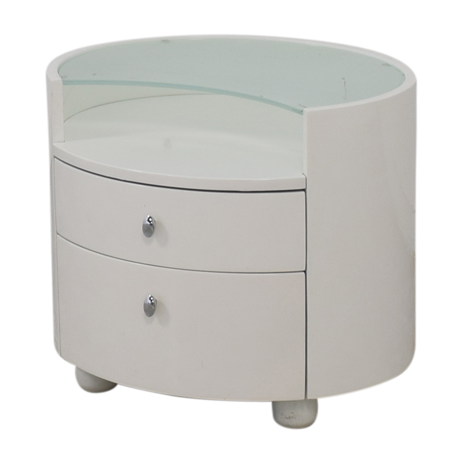 Modern Two Drawer Crescent Glass Nightstand coupon