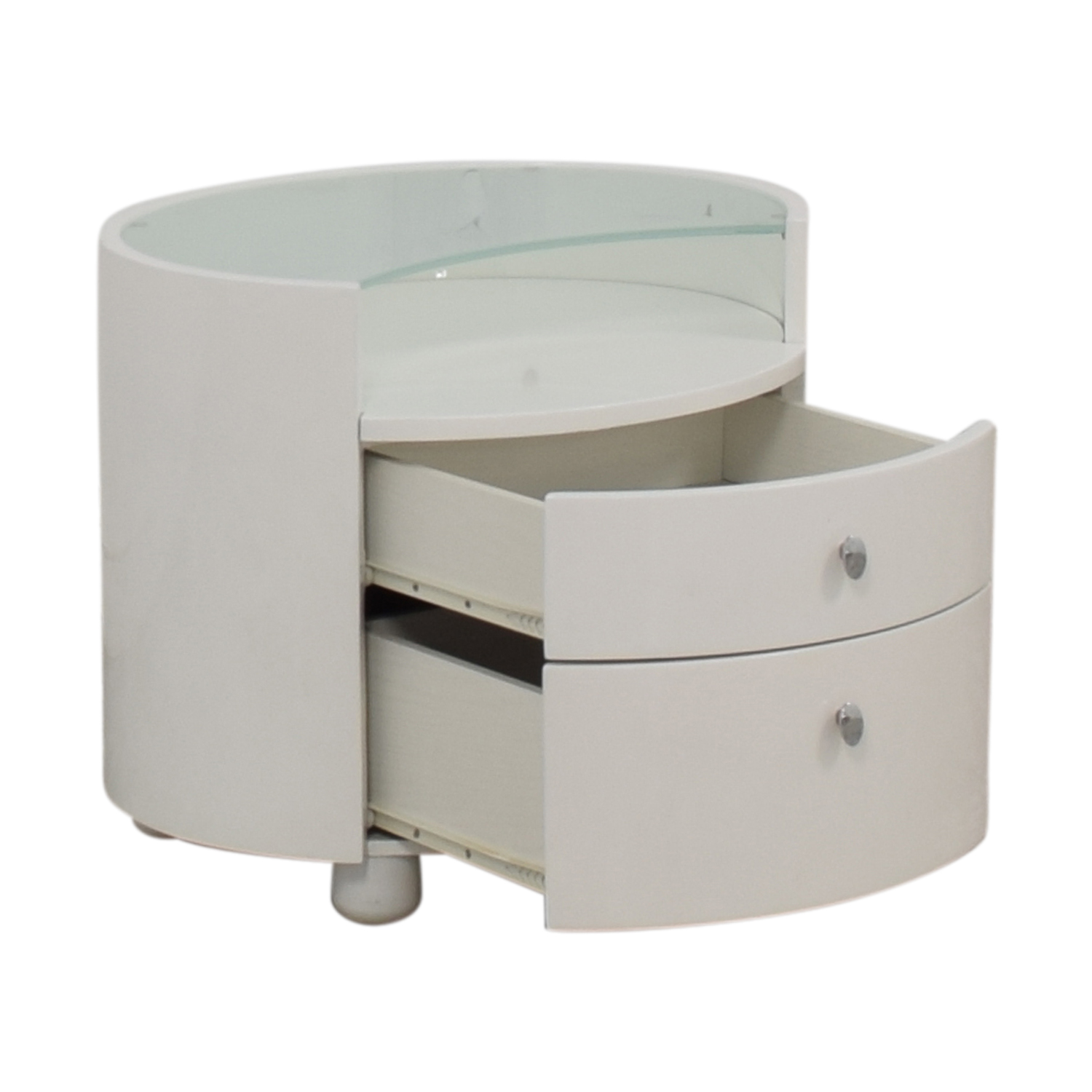 Modern Two Drawer Crescent Glass Nightstand second hand