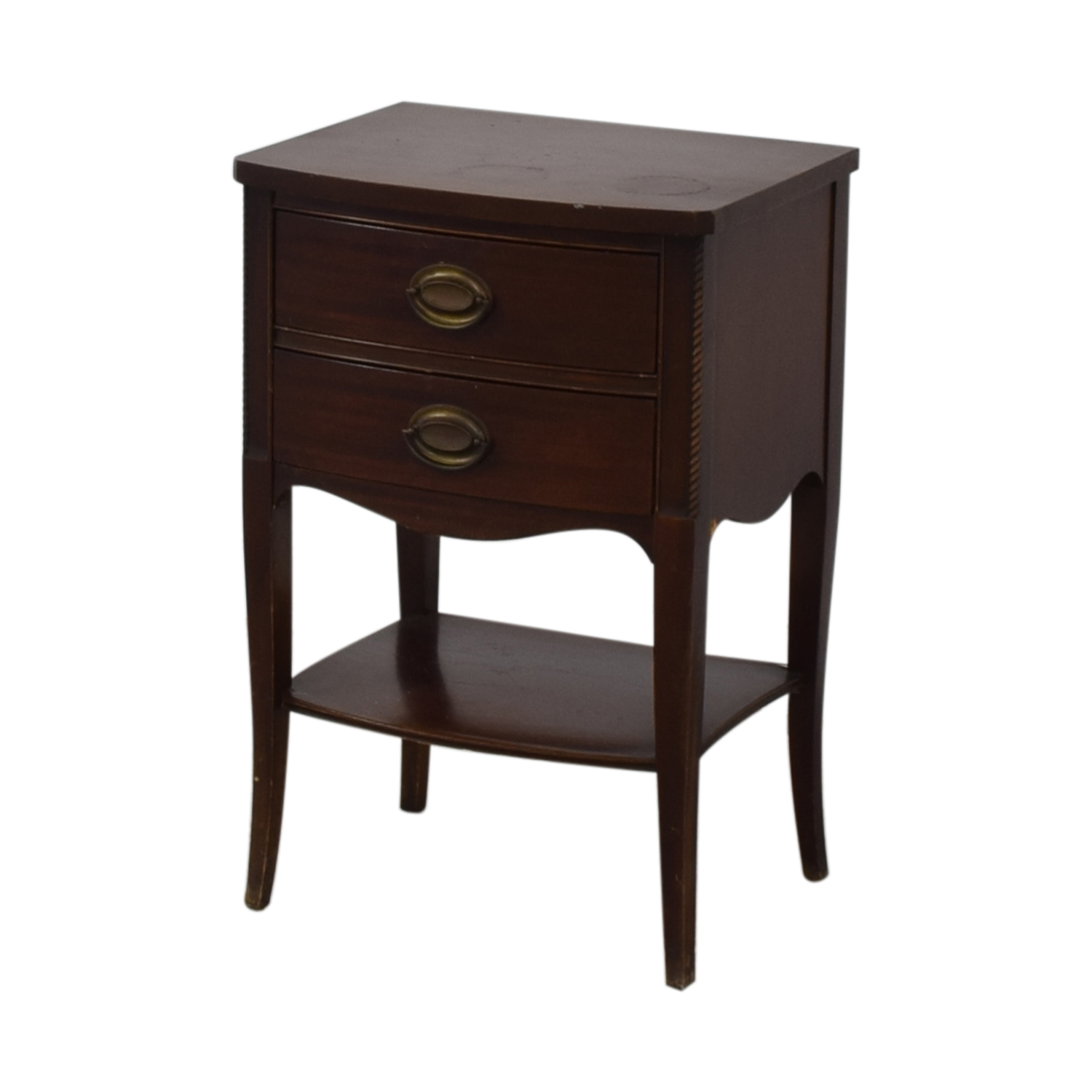 Brown Two Drawer End Table used
