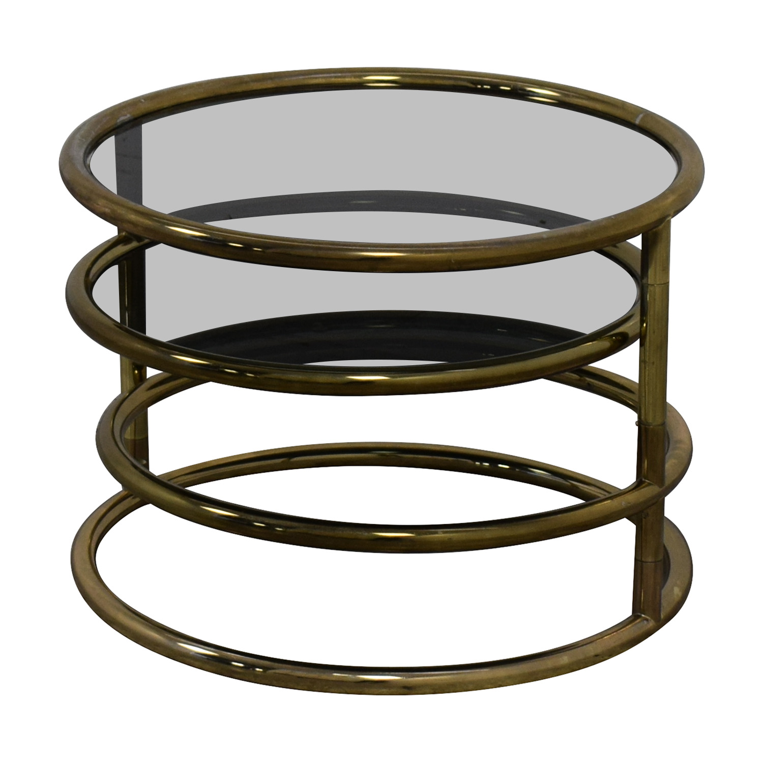 Mid-Century Three-Tier Brass Plated Swing Cocktail Table Tables